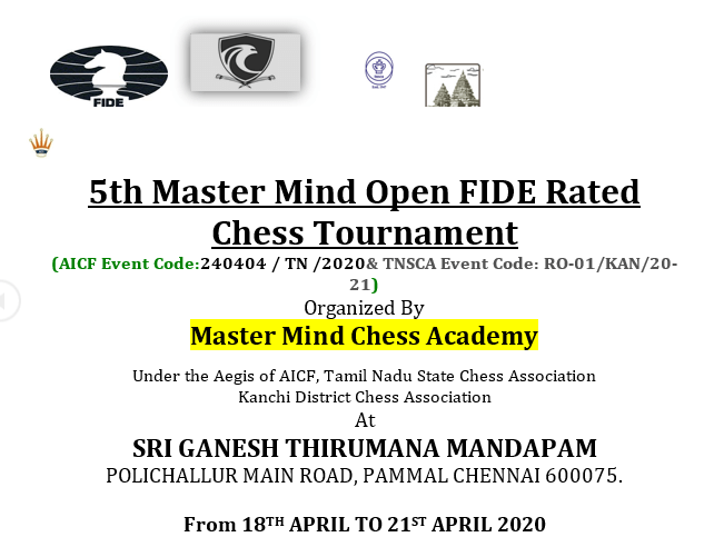 5th Master Mind Open FIDE Rated Chess Tournament