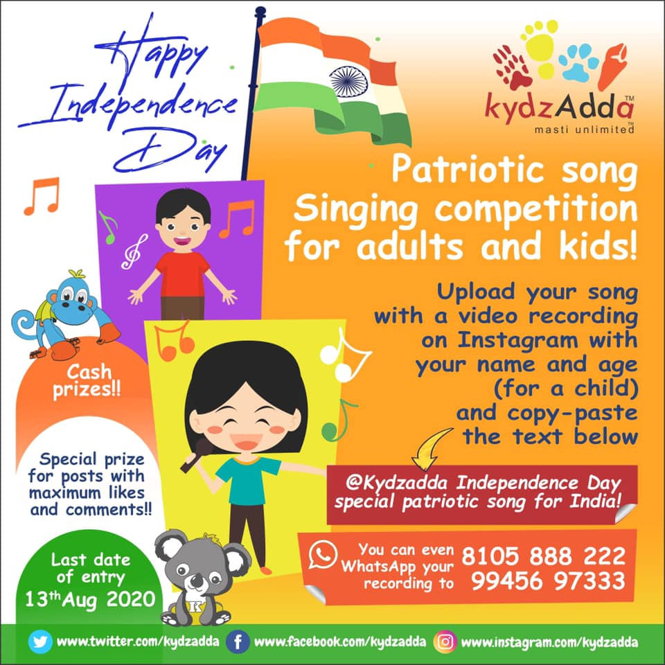 Patriotic song Singing competition for adults and kids!
