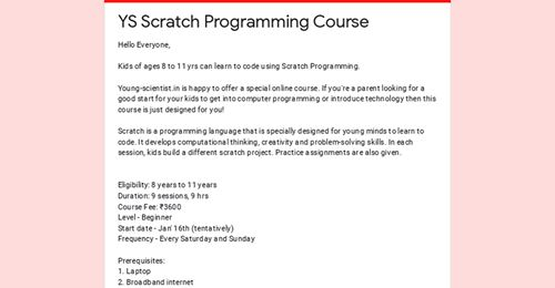 YS Scratch Programming Course