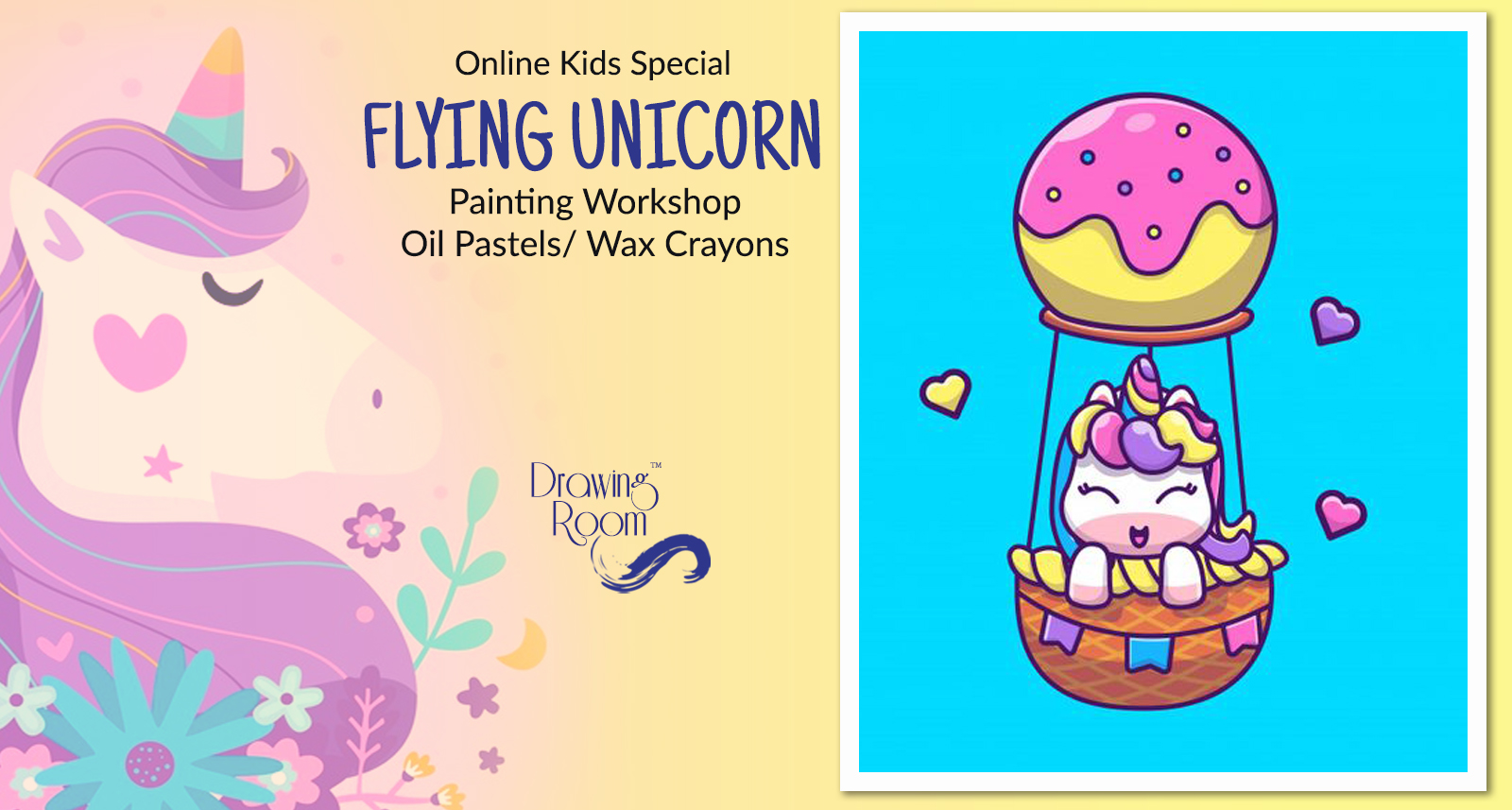 Online Kids Special Flying Unicorn Painting Workshop