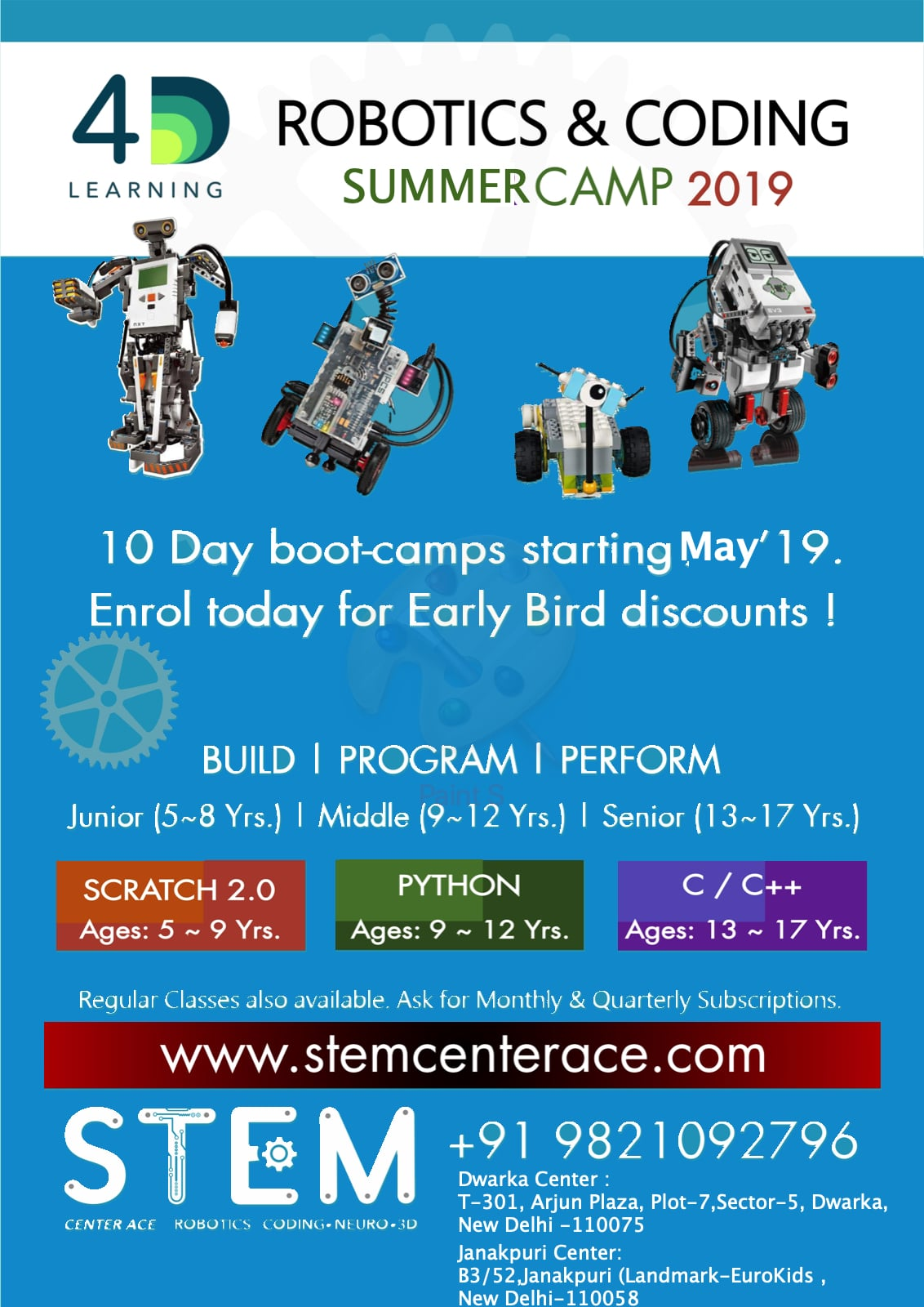 SUMMER CAMP 2019 for kids in Robotics and Coding
