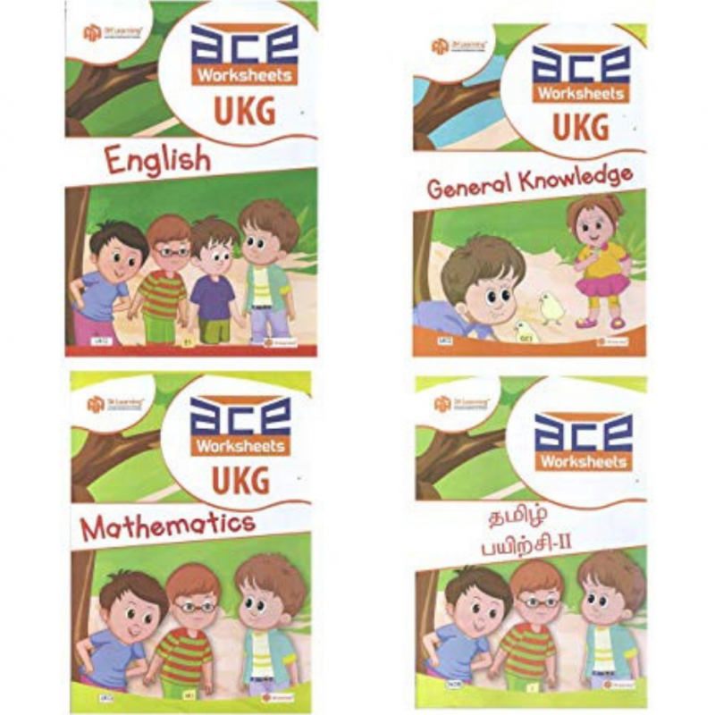 UKG ACE WORKSHEET (LOOSE LEAF)- ENGLISH, GK And COLOURING,MATHS WITH TAMIL  SchoolConnects